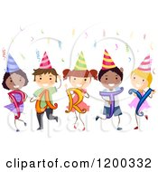 Cartoon Of A Group Of Happy Diverse Children With Party Hats Confetti And Letters Royalty Free Vector Clipart