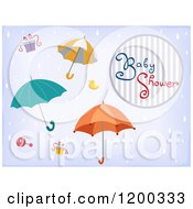 Cartoon Of A Baby Shower Invitation With Raining Umbrellas And Gifts Royalty Free Vector Clipart by BNP Design Studio