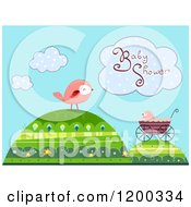 Cartoon Of A Baby Shower Cloud Over Birds And A Carriage On Hills Royalty Free Vector Clipart by BNP Design Studio
