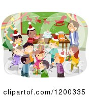 Cartoon Of A Female Teacher And Happy Diverse School Children Having A Classroom Christmas Party Royalty Free Vector Clipart