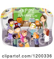 Cartoon Of A Female Teacher And Happy Diverse School Children Having A Classroom Halloween Party Royalty Free Vector Clipart