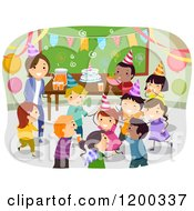 Cartoon Of A Female Teacher And Happy Diverse School Children Having A Classroom Birthday Party Royalty Free Vector Clipart