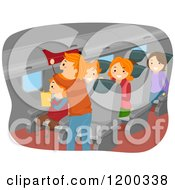 Cartoon Of A Happy Family Inside An Airplane Royalty Free Vector Clipart