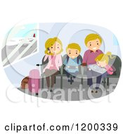 Cartoon Of A Happy Caucasian Family Waiting In An Airport Royalty Free Vector Clipart