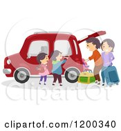 Happy Family Loading Luggage Into Their Car For A Road Trip