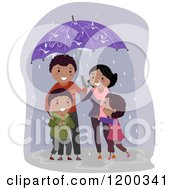 Cartoon Of A Happy Black Family Standing Under An Umbrella In The Rain Royalty Free Vector Clipart