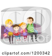 Cartoon Of A Happy Family Waiting At A Train Station Royalty Free Vector Clipart