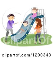 Cartoon Of A Happy Family Playing At A Playground Slide Royalty Free Vector Clipart