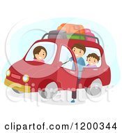 Cartoon Of A Happy Family Ready For A Car Road Trip Royalty Free Vector Clipart
