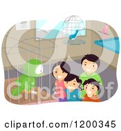 Cartoon Of A Happy Family Looking At Birds At A Pet Store Royalty Free Vector Clipart