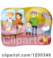 Cartoon Of A Happy Family Looking At Cats In A Pet Shop Royalty Free Vector Clipart