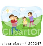 Cartoon Of A Happy Family Running On Hills On A Sunny Day Royalty Free Vector Clipart