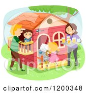 Cartoon Of A Happy Family Bonding At A Playhouse Royalty Free Vector Clipart