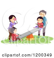 Cartoon Of A Happy Asian Family Playing On A See Saw On A Playground Royalty Free Vector Clipart