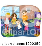 Cartoon Of A Happy Family Looking At Dogs In A Pet Shop Royalty Free Vector Clipart