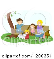 Cartoon Of A Happy Family Relaxing At A Park Bench Royalty Free Vector Clipart