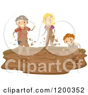 Cartoon Of A Happy Boy And Parents Playing In A Mud Puddle Royalty Free Vector Clipart
