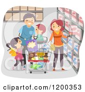 Cartoon Of A Happy Family Grocery Shopping In A Store Royalty Free Vector Clipart