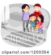 Cartoon Of A Happy Family At A Crosswalk Royalty Free Vector Clipart
