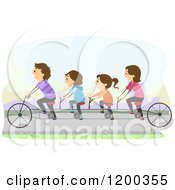 Cartoon Of A Happy Family Riding A Tandem Bicycle On A Path Royalty Free Vector Clipart