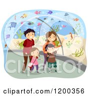 Cartoon Of A Happy Family Walking Through An Aquarium Tunnel Royalty Free Vector Clipart by BNP Design Studio