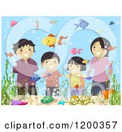 Cartoon Of A Happy Asian Family Viewing Fish At An Aquarium Royalty Free Vector Clipart