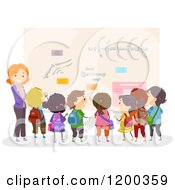 Cartoon Of A Female Teacher And Happy Diverse School Children Viewing A Bone Display At A Museum Royalty Free Vector Clipart
