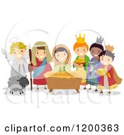 Cartoon Of Diverse Children Acting Out The Nativity Scene In A Play Royalty Free Vector Clipart