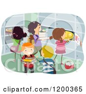 Cartoon Of Happy Diverse Children Putting Items In Lockers Royalty Free Vector Clipart by BNP Design Studio