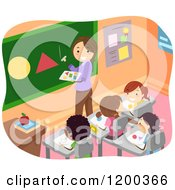 Cartoon Of A Female Teacher Discussing Shapes To Her Students Royalty Free Vector Clipart