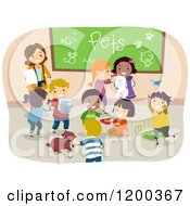 Cartoon Of A Female Teacher And Happy Diverse School Chidlren Sharing Their Pets Royalty Free Vector Clipart by BNP Design Studio