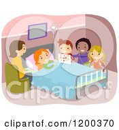 Cartoon Of Diverse Girls Visiting A Sick Friend In The Hospital Royalty Free Vector Clipart