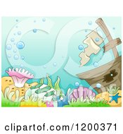 Cartoon Of A Sunken Ship And Coral Reef With Bubbles Royalty Free Vector Clipart