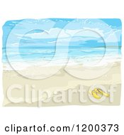 Cartoon Of A Painting Of Flip Flops On A Beach Royalty Free Vector Clipart