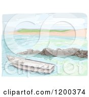 Cartoon Of A Painting Of A Boat Near A Beach Royalty Free Vector Clipart
