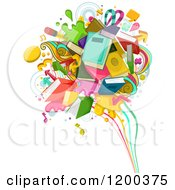 Cartoon Of A Splash Of Books And School Items Royalty Free Vector Clipart