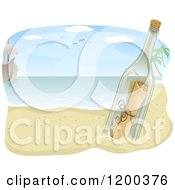 Cartoon Of A Ship And Message In A Bottle On A Beach Royalty Free Vector Clipart by BNP Design Studio
