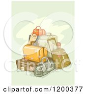 Cartoon Of A Painting Of Piled Luggage On Green Royalty Free Vector Clipart
