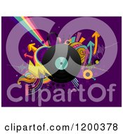 Cartoon Of A Retro Vinyl Record Album With Arrows And Rainbows On Purple Royalty Free Vector Clipart