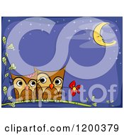 Cartoon Of A Loving Owl Couple With A Flower Under A Crescent Moon With Text Space Royalty Free Vector Clipart