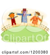 Cartoon Of A Farmland Hill With Three Spooky Halloween Scarecrows Royalty Free Vector Clipart