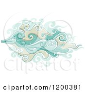 Cartoon Of A Blue And Tan Smoke Cloud Royalty Free Vector Clipart