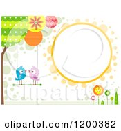 Cartoon Of A Retro Background With Birds Smooching On A Swing And A Circle Frame Royalty Free Vector Clipart