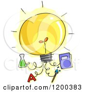 Cartoon Of A Lightbulb With Attached Educational Ideas Royalty Free Vector Clipart by BNP Design Studio