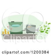 Cartoon Of A Money Maker Machine Spitting Out Cash Royalty Free Vector Clipart by BNP Design Studio