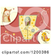 Cartoon Of A Bird Couple And House With Retro Vines Royalty Free Vector Clipart