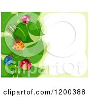 Cartoon Of A Border Of Patterned Ladybugs On Green Leaves Around Text Space Royalty Free Vector Clipart by BNP Design Studio