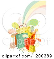 Cartoon Of Patterned Shopping Bags Splashes And A Rainbow Royalty Free Vector Clipart
