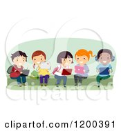 Cartoon Of A Group Of Happy Diverse School Children Using Tablet Computers On A Bench Royalty Free Vector Clipart