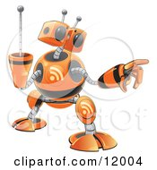 Orange RSS Robot Clipart Illustration